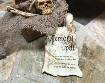 Aged MEMORY SPELL Sheet Dollhouse Miniature Halloween Artisan Made Fairy Garden Magic 1:12 Scale