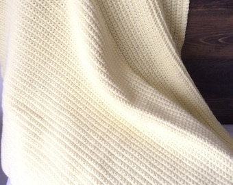 Proccefs donated to ACLU: Crochet baby blanket, Pastel Yellow 30x33