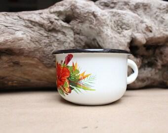 Vintage enamel cup.White enamelware.Enamel camping cup.Rustic mug.Enamelware mug.home decor.Soviet vintage cup.Made in USSR.Flowers cup.