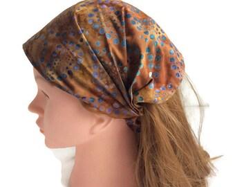 Brown blue batik bandana, boho head wrap, hair loss headband, extra wide head scarf for women, yoga workout headband, alopecia hair scarf