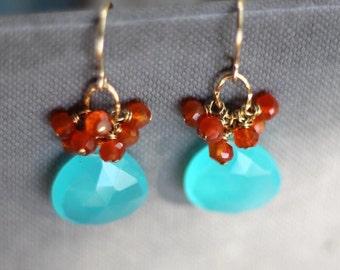 Aqua Blue Chalcedony, Carnelian Cluster Earrings - 14K Goldfilled