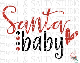 santa baby heart digital file