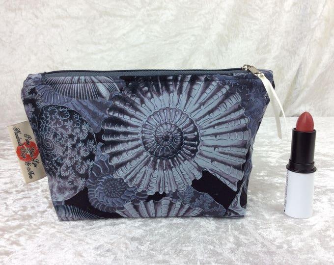 Handmade Zipper Case Zip Pouch fabric bag pencil case purse Ammonites Fossils Shells
