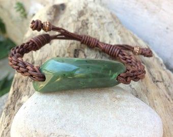 Washington Jade and Leather Braided Bracelet