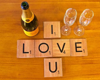 Anniversary/Romantic  Scrabble Tile Coasters made from recycled wood