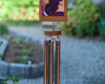 Wind Chime Colorful Painted Copper Art Outdoor Windchimes