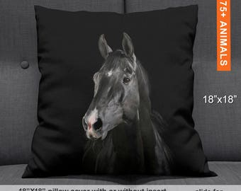 Black Horse Decorative Pillow, Equestrian Throw Pillows, Horse Pillow, Horse Lover Gift, Equine Pillow, Horse Cushion Cover Equestrian Gifts