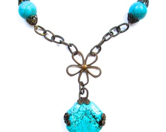 Antique Brass Chain With Turquoise Stones and Filigree Wrapped Turquoise Pendant