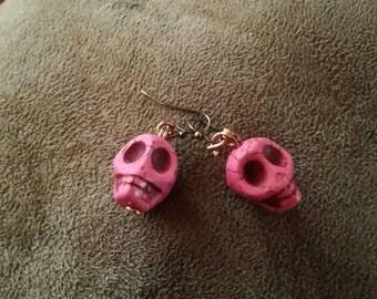Pink Howlite Skull earrings