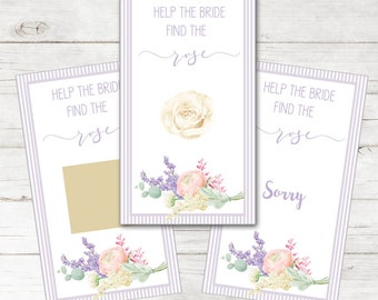 Personalized with Bride's Name Set of 12 Scratch Off Game Cards for Bridal Wedding Showers with Watercolor Spring Lilacs in Lavender SCB8028