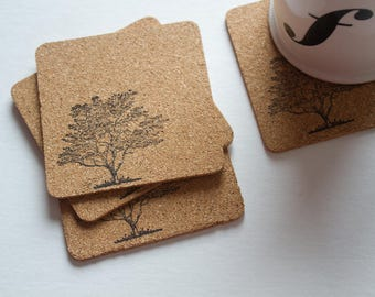 tree coasters, drink coasters, cork, cork coasters, cute coasters, nature coasters, cork coaster, housewarming gift, cute coasters, eco
