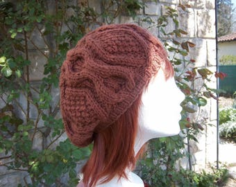 Beret woman wool (Brown).