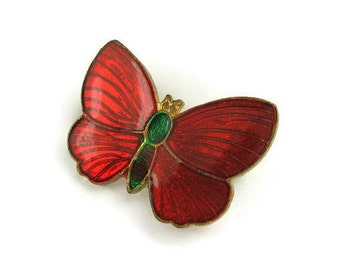 Vintage Red Butterfly Brooch
