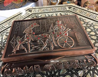 Vintage Unique Large Egyptian Copper Jewelry Box 1988 Mad in Egypt