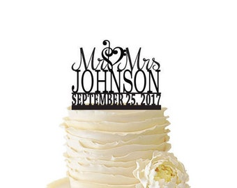 Mr. And Mrs. With Music Note Heart And Personalized With Your Name and Date Acrylic or Baltic Birch Wedding/Special Event Cake Topper - 133