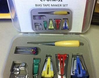 """Bias Tape Maker Set - makes bias tape sizes 1"""", 3/4"""". 1/2"""", 1/4"""" w/ Bias Binder Foot, Awl, pins."""