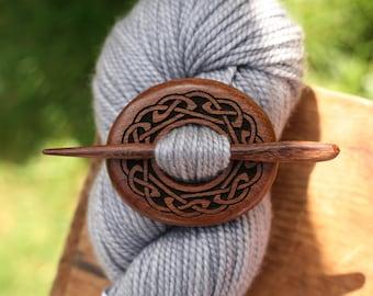 Mahogany Celtic Knot Shawl Pin - Handmade Wooden Shawl Pin -Wood Shawl Pin- Eco Knitting Supplies