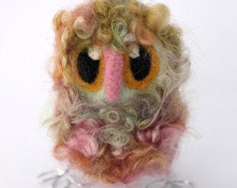 Owl Baby, Felt Bird, Strawberry Mint Needle Felted OOAK Owl Baby in Hand Dyed Wensleydale Wool