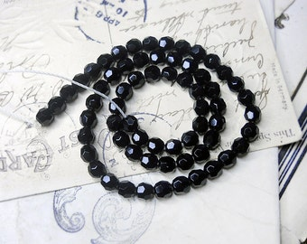 Vintage Glass Beads - 65 Black Faceted Rounds - Full Strand 16 Inches - West Germany Glass Beads - 6mm - Vintage Mid Century Bead Set