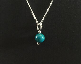 Tiny Chrysocolla Charm Necklace