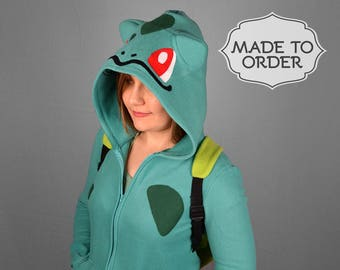 Bulbasaur Pokemon Costume Hoodie with Bulb Backpack - Made to Order