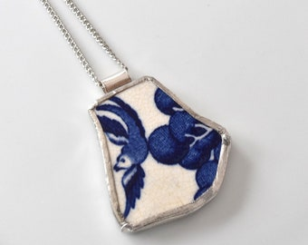 Broken China Jewelry Pendant - Blue Willow Birds