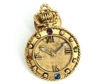 Clock, Vintage Pin, Pin, Brooch, Clock Pin, Timepeace, Tie Pin, Tie Tack Clock Jewelry - V