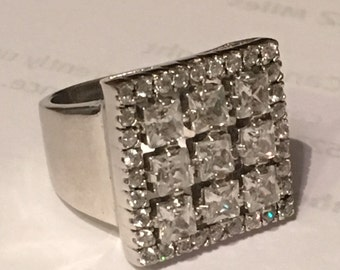 Sale! STERLING SILVER MODERNIST Square Cubic Zirconia Cz Ring 9.5 grams Size 8