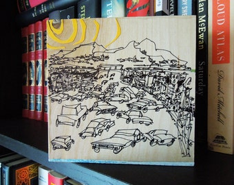 THE RIGHT TRACK   original artwork   pen & ink drawing   California traffic jam   by Kathryn DiLego