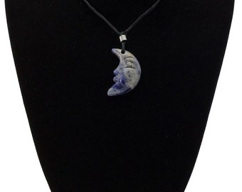 Blue Sodalite Crescent Moon Face Pendant Hand Carved Gemstone Stone Necklace
