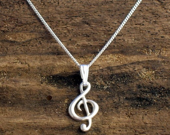 Treble Clef Necklace, Silver Treble clef pendant, Music note pendant ,G- clef jewelry,  Music Jewellery, Music Gifts, Gift for musician.