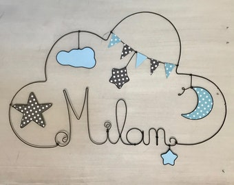Name personalized wire - child moon stars-decorative cloud by Chacha stars