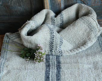 E 565 A: antique handloomed faded BLACKBERRY and ICE BLUE ; grainsack pillow cushion runner 37.80long wedding, french lin,spring, vintage