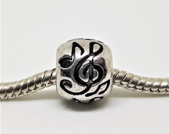 Silver Music Notes Charm for European Bracelets (item 036)