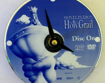 Monty Python and the Holy Grail. DVD clock. Recycled DVD. Movie clock. Small clock. Vinyl clock.