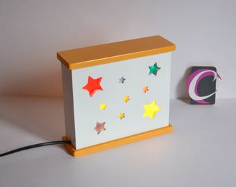 """Nightlight handcrafted double-sided """"silent night"""" starry"""