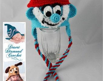 Crochet Pattern 058 - Grandpa Blue Gnome Beanie Hat - All Sizes