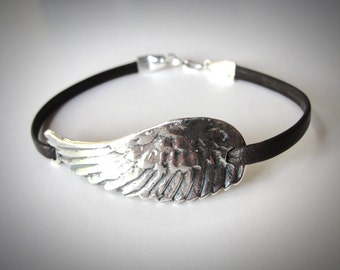 Leather Choker, Angel Wing bracelet, festival jewelry, Flight Bird Wing, Sterling Silver Angel Wing, Leather Bracelet, gift for her