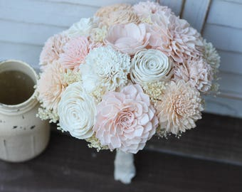 Blush peach ivory Bouquet, Rustic Wedding, Country Wedding, Wedding Flowers, Bridal Bouquet, Wedding Bouquet, sola bouquet, sola flowers