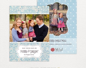 Personalized holiday cards- photo christmas cards- blue damask
