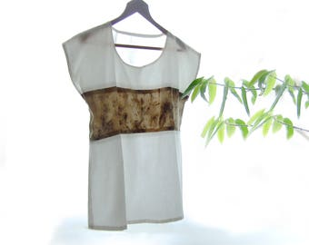 Ecoprint top, minimalist shirt, hand dyed with plant, botanical print tshirt, organic cotton silk, ethical sustainable fashion gift, S size