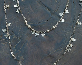 Bohemian Layering Necklaces, Silver Saharwi Amulet Charms, Tribal Silver, Boho Chic Jewelry, Bohemian Jewelry