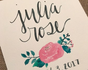 Handwritten Name and Birth Stats  - with flower detail