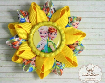 Frozen Fever bow Princess hair bow Frozen hair bow Frozen party Disney Frozen fever party Frozen favor Yellow bow Hair bow set Frozen gift