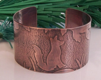 Wide Copper Cuff Bracelet with Sitting Fox , Butterfly , Leaves , Flowers, Grass, Embossed , Engraved and Oxidised