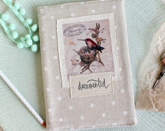 Covered blank sketchbook journal with sweet bird transfer