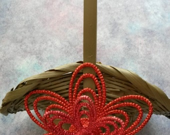 Basket Flower Girl Small Brownish Gray UpCycled Cottage Chic Wicker Basket Large Red Glitter Flower Accent Wedding Gift Storage Home Decor