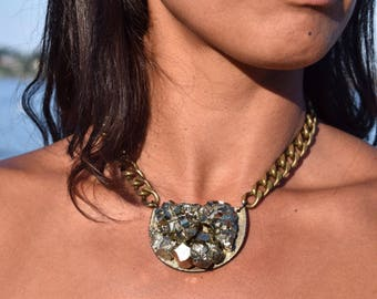 Pyrite Crystal on Wood Necklace with Brass Chain