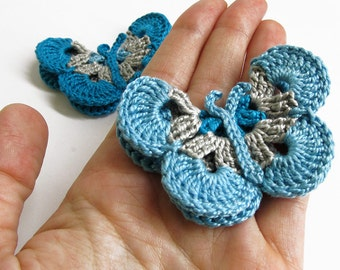Crocheted Butterfly Appliques 2pc in blue and gray, 3 inches wide