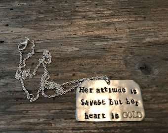 Attitude is savage necklace